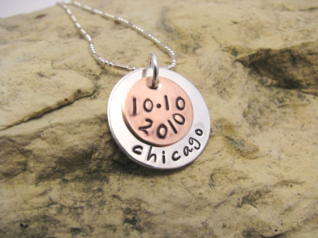 Marathon or Half-Marathon Charm with Date, center hung, designer font