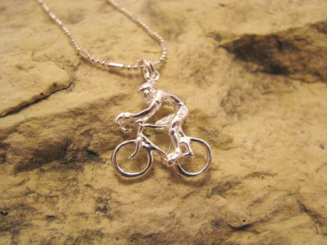 3D Cyclist Sterling Silver Charm