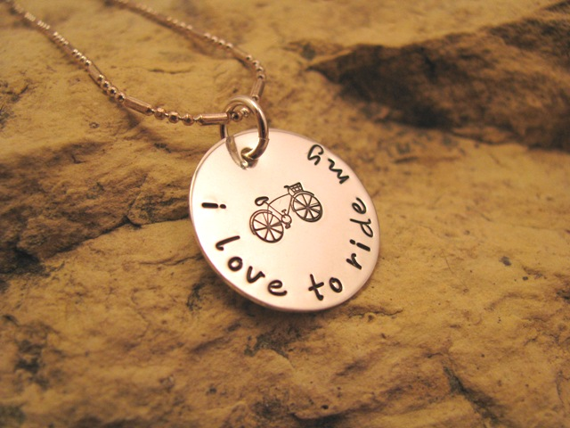 i love to ride my bicycle - sterling silver charm