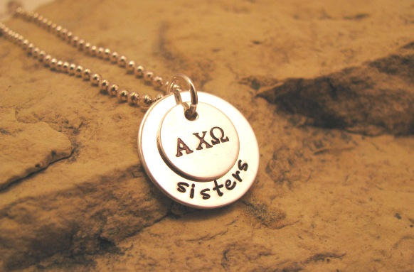 Sorority All Silver Charm - custom letters possible