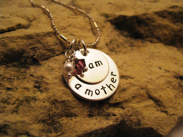 i am a mother - all silver charm with Swarovski birthstone crystals basic font