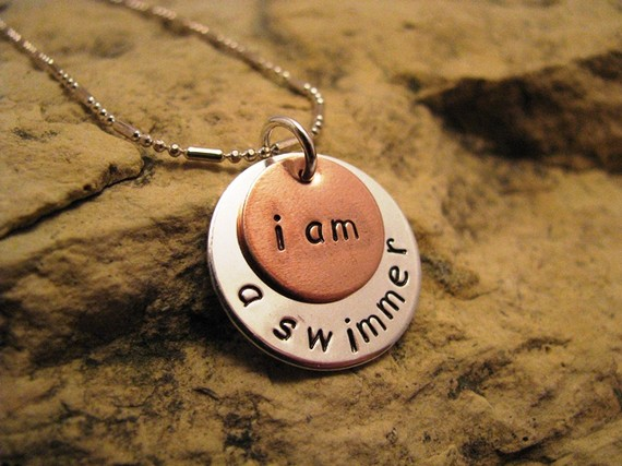 i am a swimmer - silver and copper, basic font