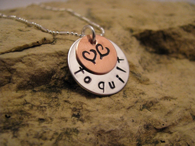 Love to... quilt - silver and copper quilter's charm, basic font