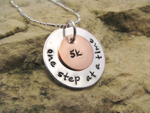 one step at a time 5k sterling silver charm