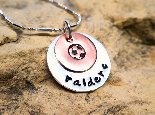 soccer or baseball with mascot or school name - jewelry for athletes