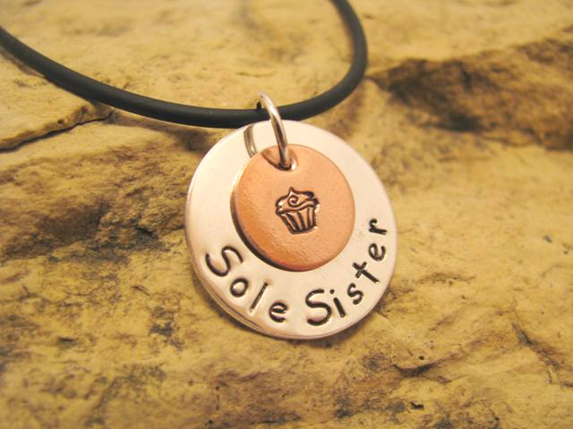 Sole Sister Charm with Cupcake and Footprints