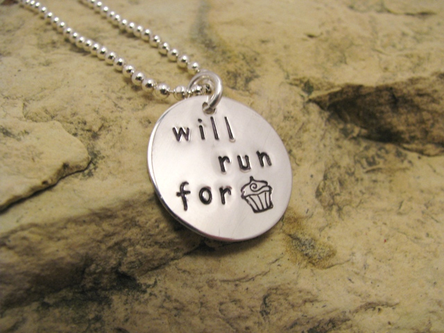 Will run for cupcakes - sterling silver charm