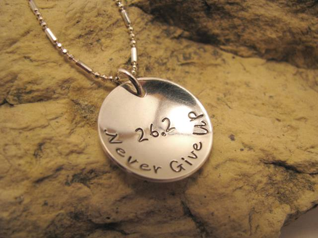 Never Give Up - sterling silver domed charm