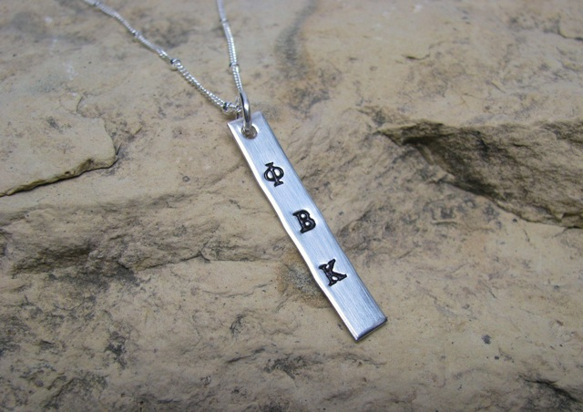 Sorority - personalized silver and copper tag charm