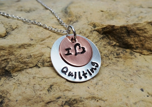 I Love Quilting - silver and copper quilter's charm