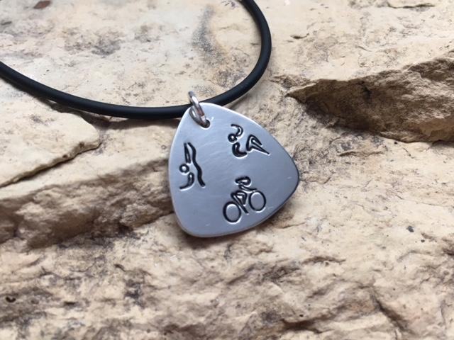 Swim Bike Run Triathlon Guitar Pick Charm or Key Chain