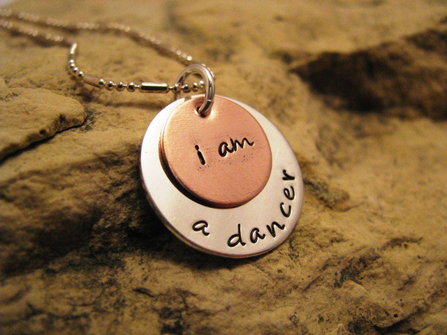 i am a dancer- silver and copper charm, designer font