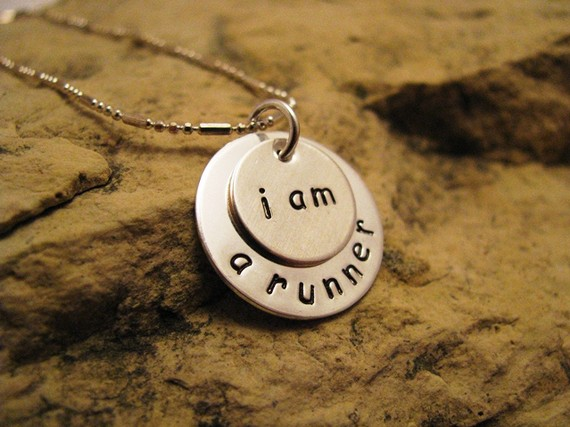 i am a runner - all silver charm, basic font