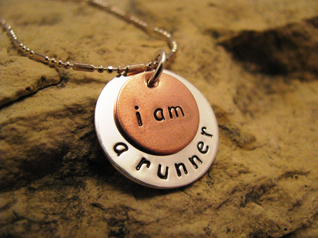 i am a runner - silver and copper charm, basic font