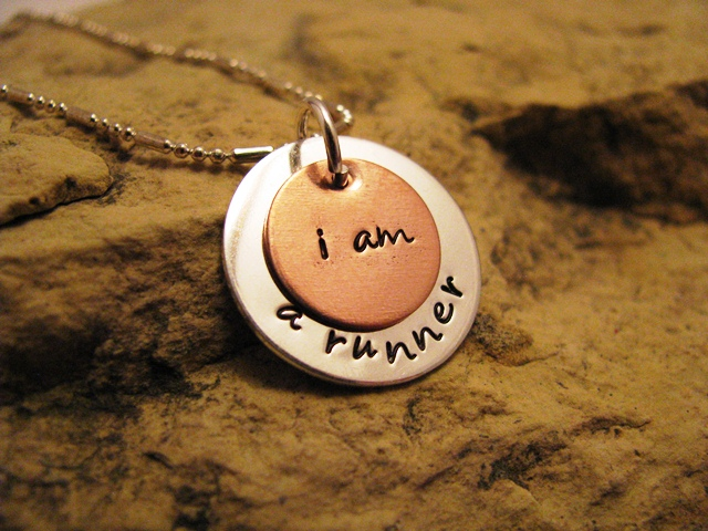 i am a runner - silver and copper charm, designer font, center hung