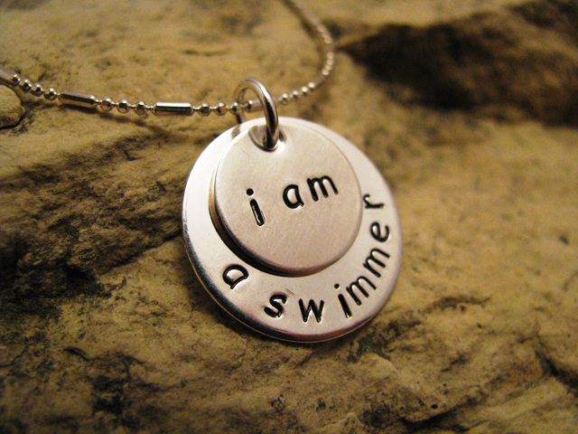 i am a swimmer - silver, basic font