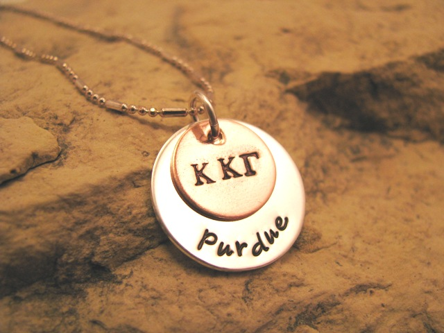 Sorority with School - silver and copper charm