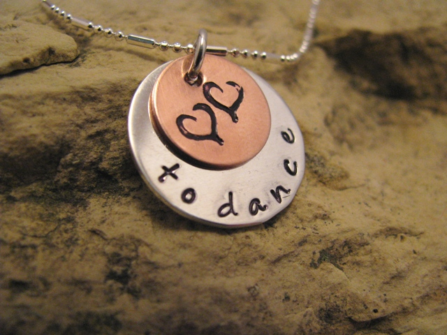Love to... dance - silver and copper charm, designer font