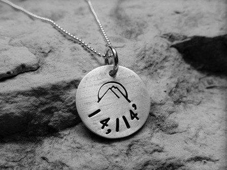 Summit charm - elevation, sterling silver (customized)