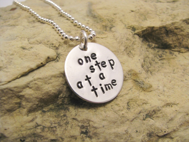 one step at a time - motivational charm