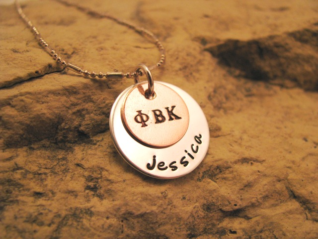 Sorority - personalized silver and copper charm