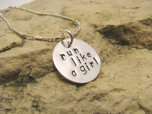 run like a girl - sterling silver runner's charm