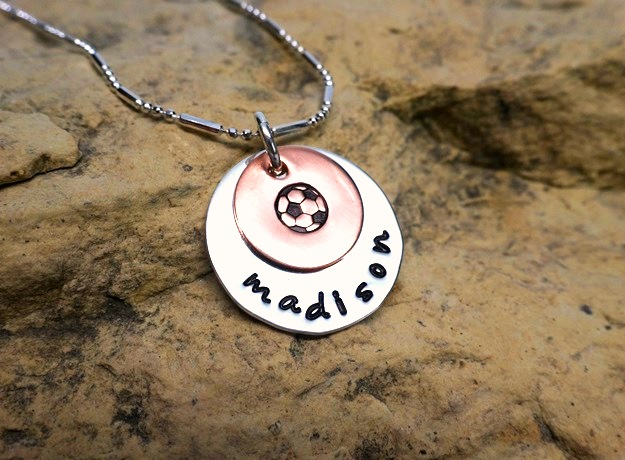 soccer or baseball with name and date - jewelry for athletes