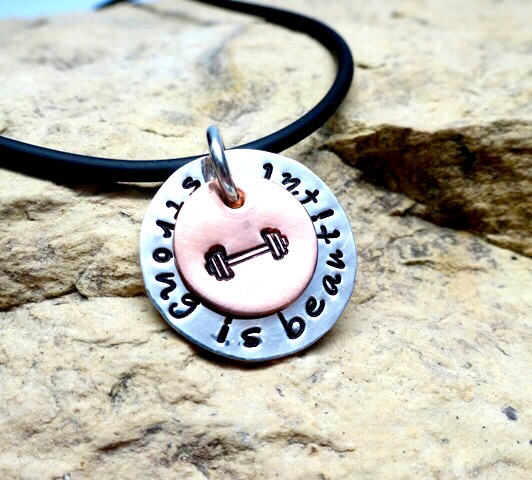 Strong is beautiful- barbell - copper and sterling silver charm