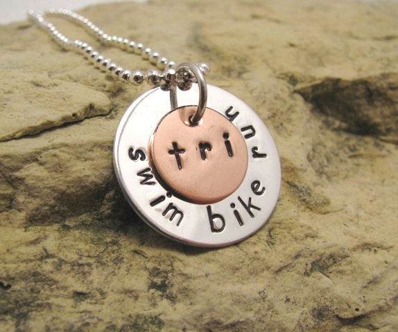 Triathlon Charm - swim bike run - Tri Jewelry - can also be Duathlon